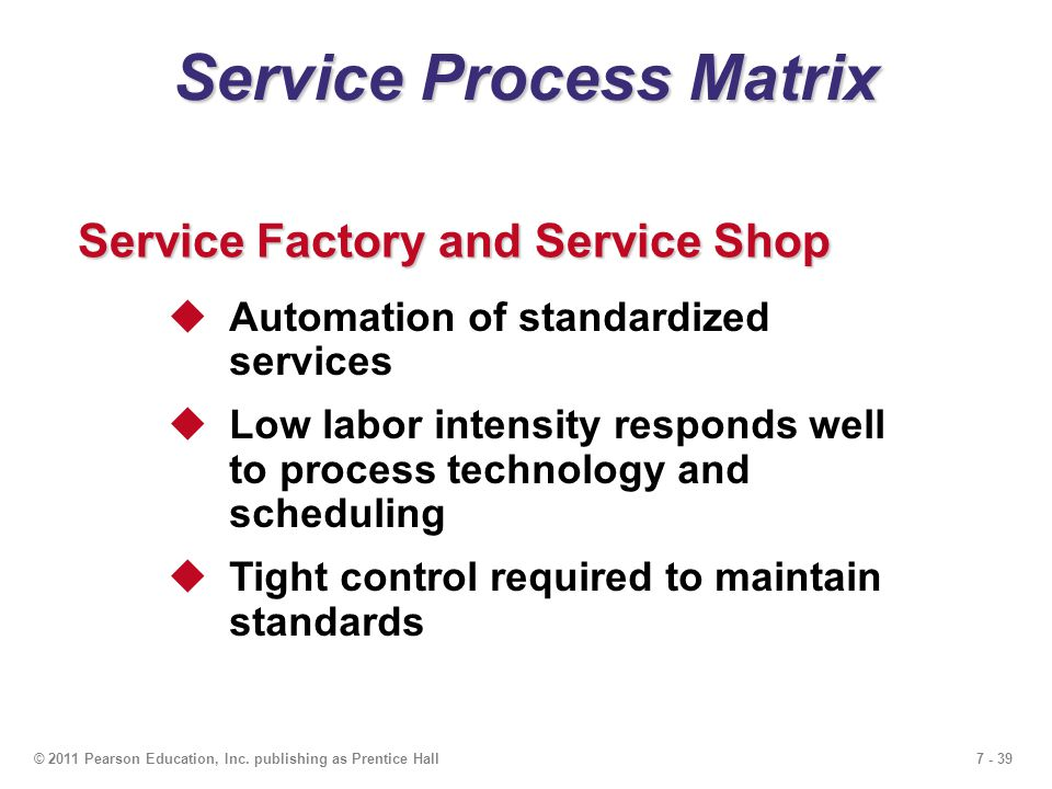 7 - 39© 2011 Pearson Education, Inc. publishing as Prentice Hall Service Process Matrix Service Factory and Service Shop  Automation of standardized