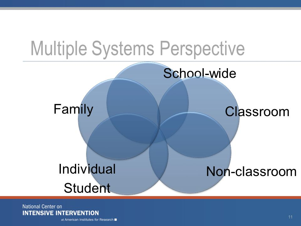 Multiple Systems Perspective School-wide Classroom Non-classroom Individual Student Family 11