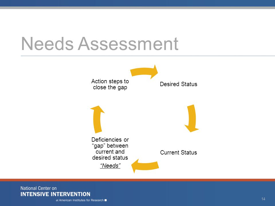 """Needs Assessment Desired Status Current Status Deficiencies or """"gap"""" between current and desired status """"Needs"""" Action steps to close the gap 14"""