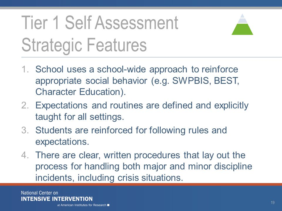 1.School uses a school-wide approach to reinforce appropriate social behavior (e.g. SWPBIS, BEST, Character Education). 2.Expectations and routines ar