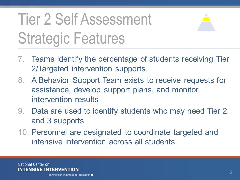 7.Teams identify the percentage of students receiving Tier 2/Targeted intervention supports. 8.A Behavior Support Team exists to receive requests for