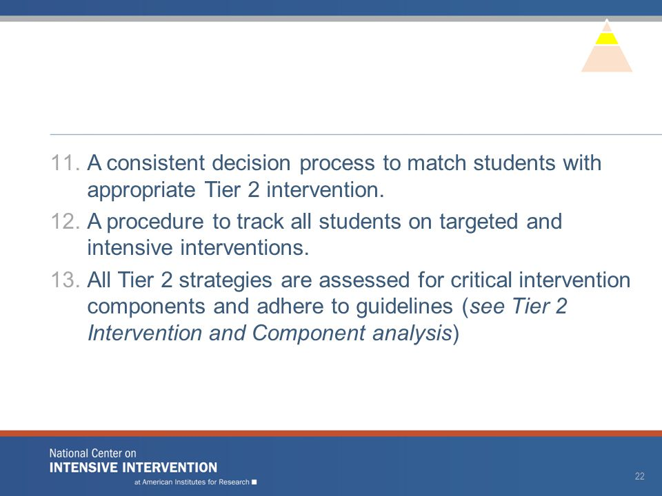 11.A consistent decision process to match students with appropriate Tier 2 intervention. 12.A procedure to track all students on targeted and intensiv