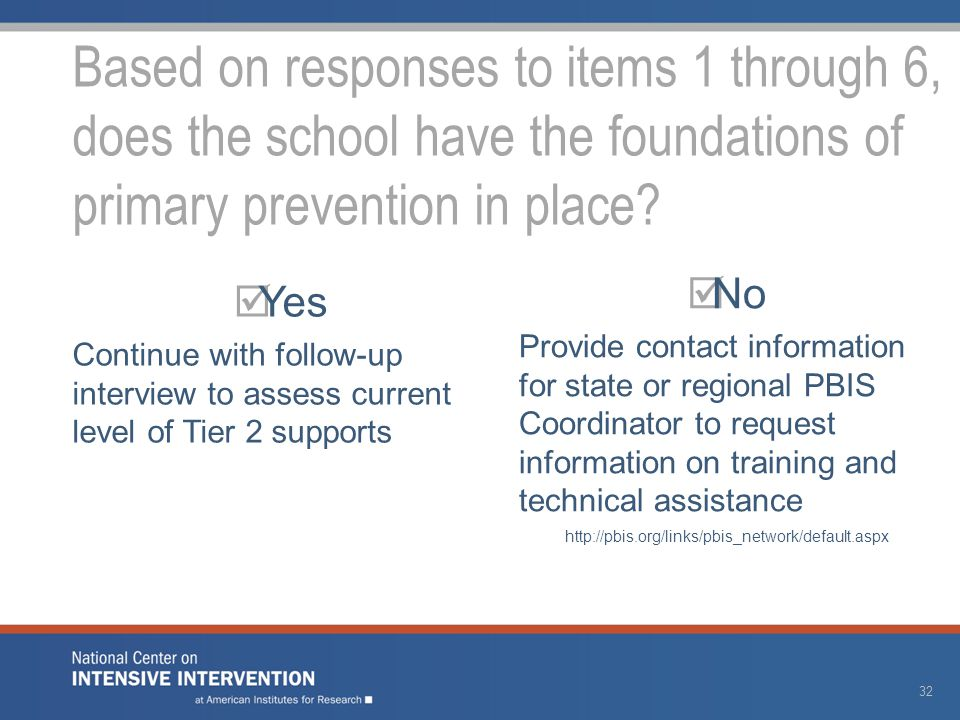  Yes Continue with follow-up interview to assess current level of Tier 2 supports  No Provide contact information for state or regional PBIS Coordin