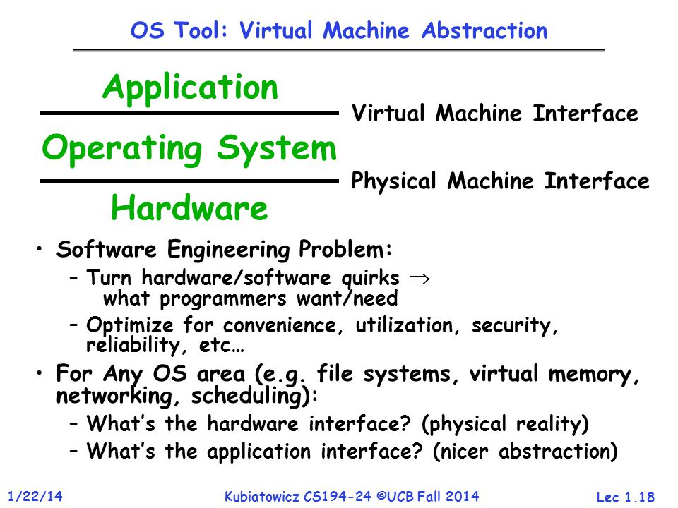 Lec 1.18 1/22/14Kubiatowicz CS194-24 ©UCB Fall 2014 OS Tool: Virtual Machine Abstraction Software Engineering Problem: –Turn hardware/software quirks  what programmers want/need –Optimize for convenience, utilization, security, reliability, etc… For Any OS area (e.g.