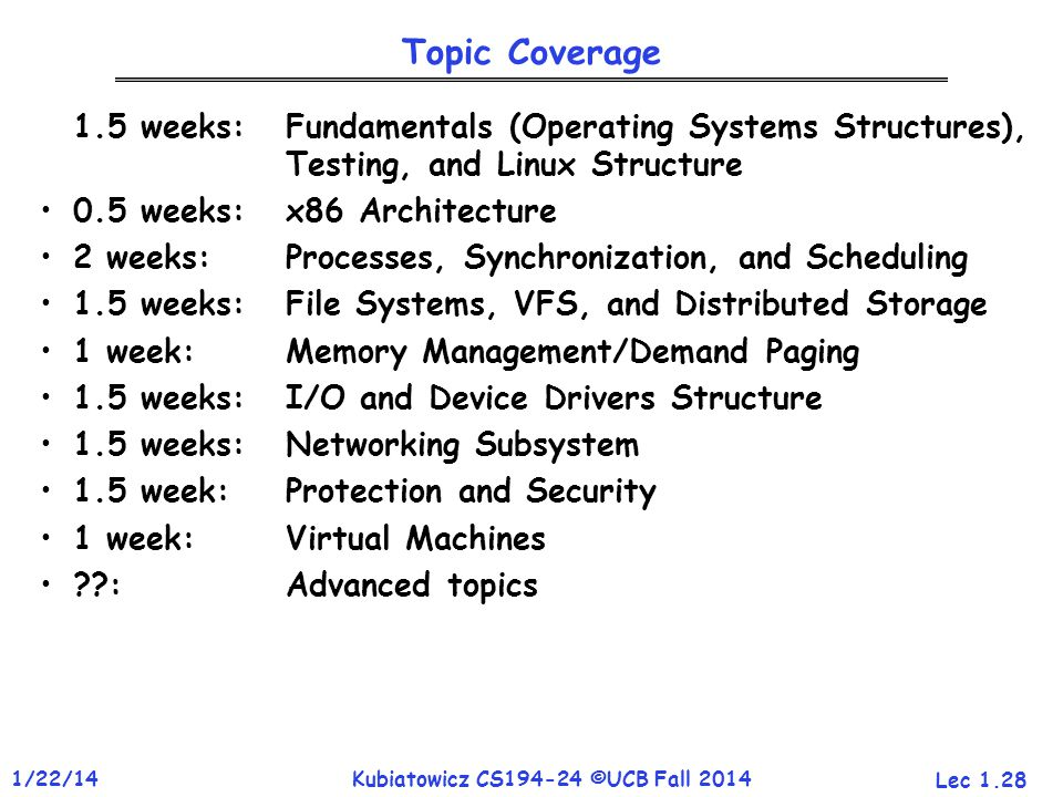 Lec 1.28 1/22/14Kubiatowicz CS194-24 ©UCB Fall 2014 Topic Coverage 1.5 weeks:Fundamentals (Operating Systems Structures), Testing, and Linux Structure 0.5 weeks: x86 Architecture 2 weeks:Processes, Synchronization, and Scheduling 1.5 weeks:File Systems, VFS, and Distributed Storage 1 week: Memory Management/Demand Paging 1.5 weeks:I/O and Device Drivers Structure 1.5 weeks:Networking Subsystem 1.5 week: Protection and Security 1 week:Virtual Machines :Advanced topics