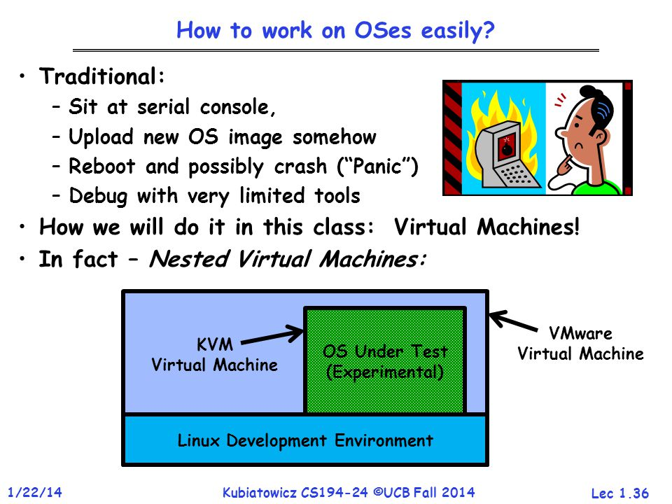 Lec 1.36 1/22/14Kubiatowicz CS194-24 ©UCB Fall 2014 How to work on OSes easily.