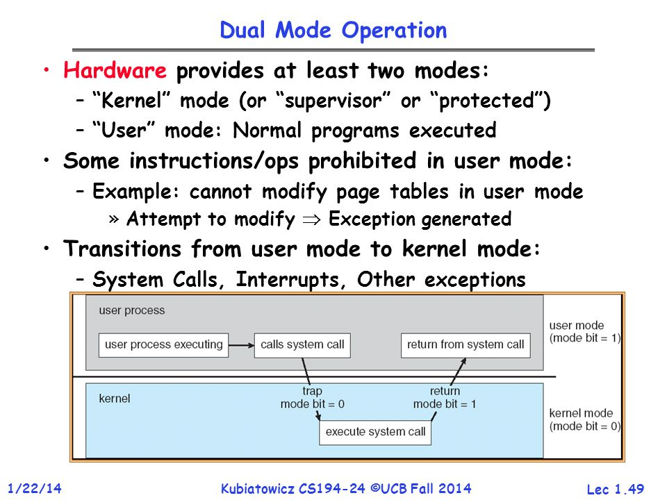 Lec 1.49 1/22/14Kubiatowicz CS194-24 ©UCB Fall 2014 Dual Mode Operation Hardware provides at least two modes: – Kernel mode (or supervisor or protected ) – User mode: Normal programs executed Some instructions/ops prohibited in user mode: –Example: cannot modify page tables in user mode »Attempt to modify  Exception generated Transitions from user mode to kernel mode: –System Calls, Interrupts, Other exceptions