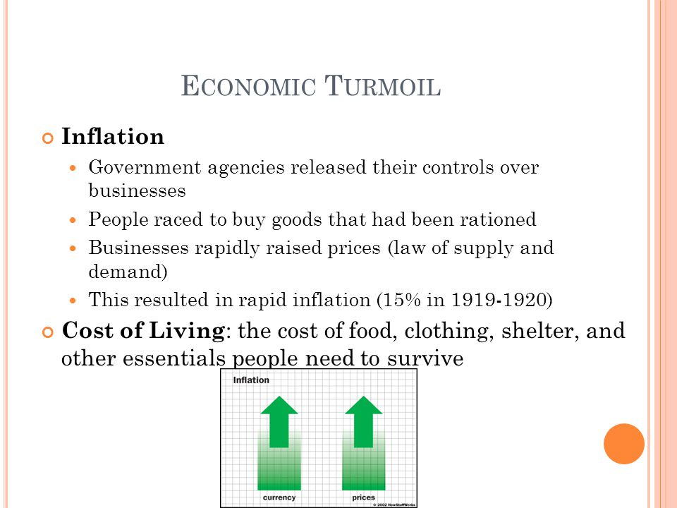 E CONOMIC T URMOIL Inflation Government agencies released their controls over businesses People raced to buy goods that had been rationed Businesses r