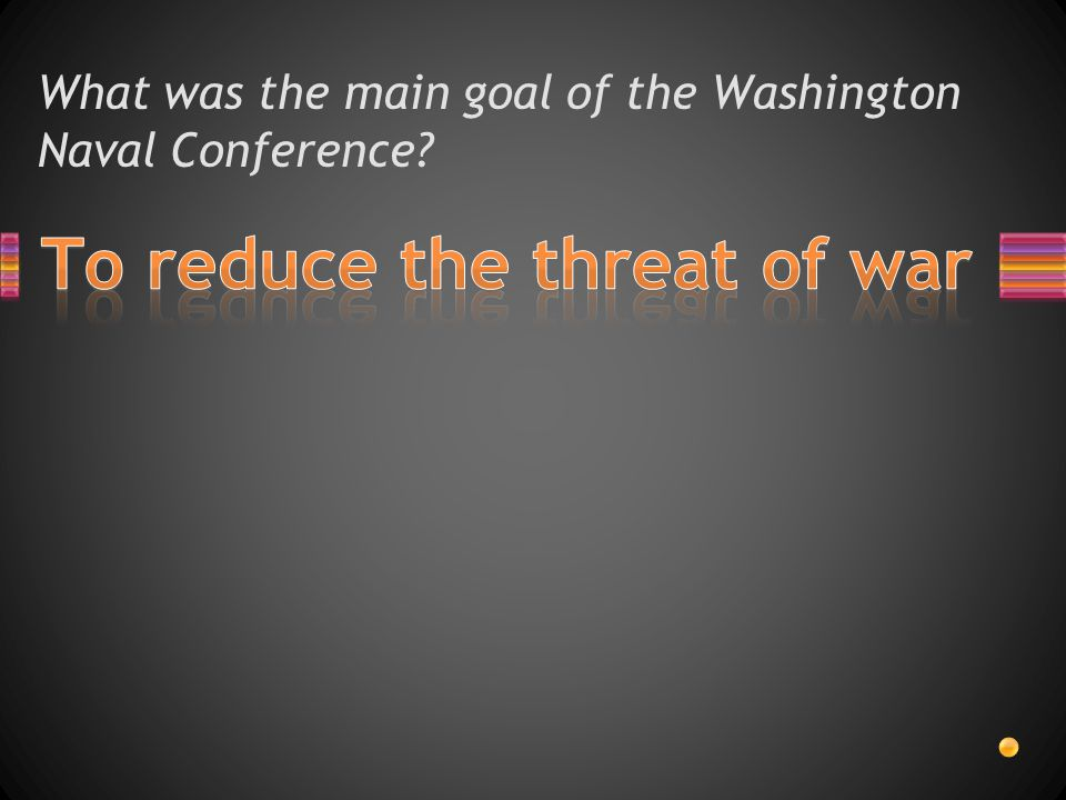 What was the main goal of the Washington Naval Conference