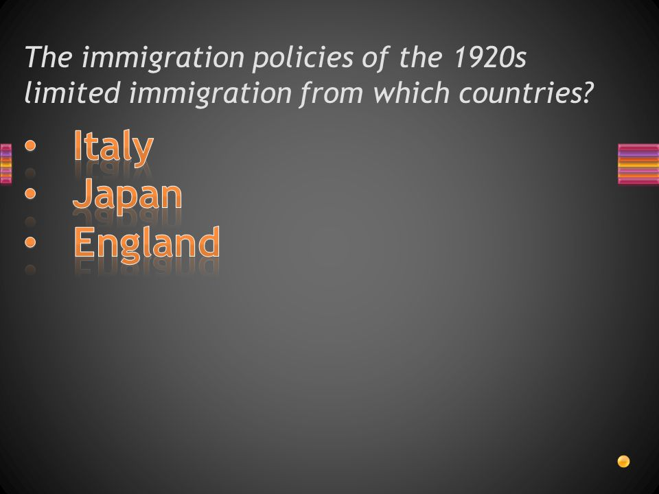 The immigration policies of the 1920s limited immigration from which countries
