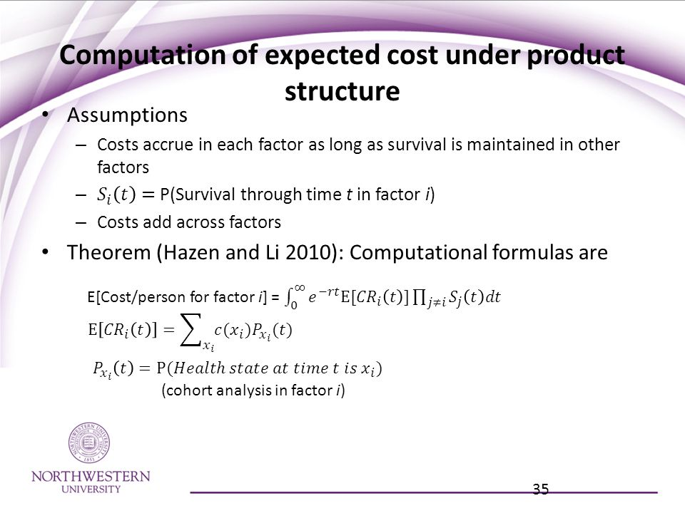 Computation of expected cost under product structure 35