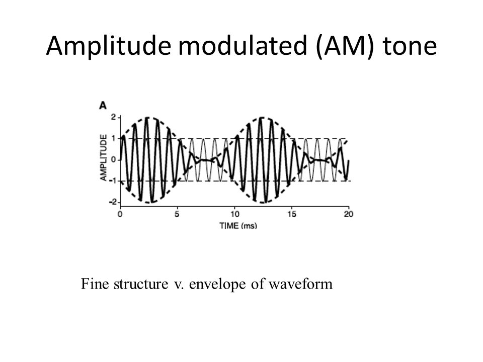 Amplitude modulated (AM) tone Fine structure v. envelope of waveform