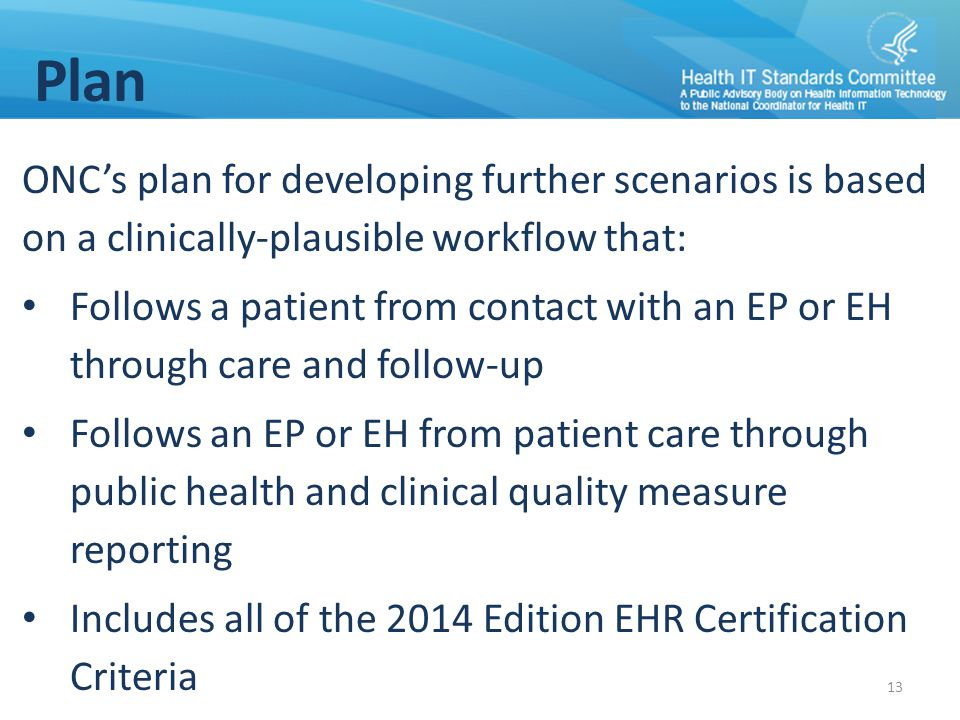 Plan ONC's plan for developing further scenarios is based on a clinically-plausible workflow that: Follows a patient from contact with an EP or EH thr