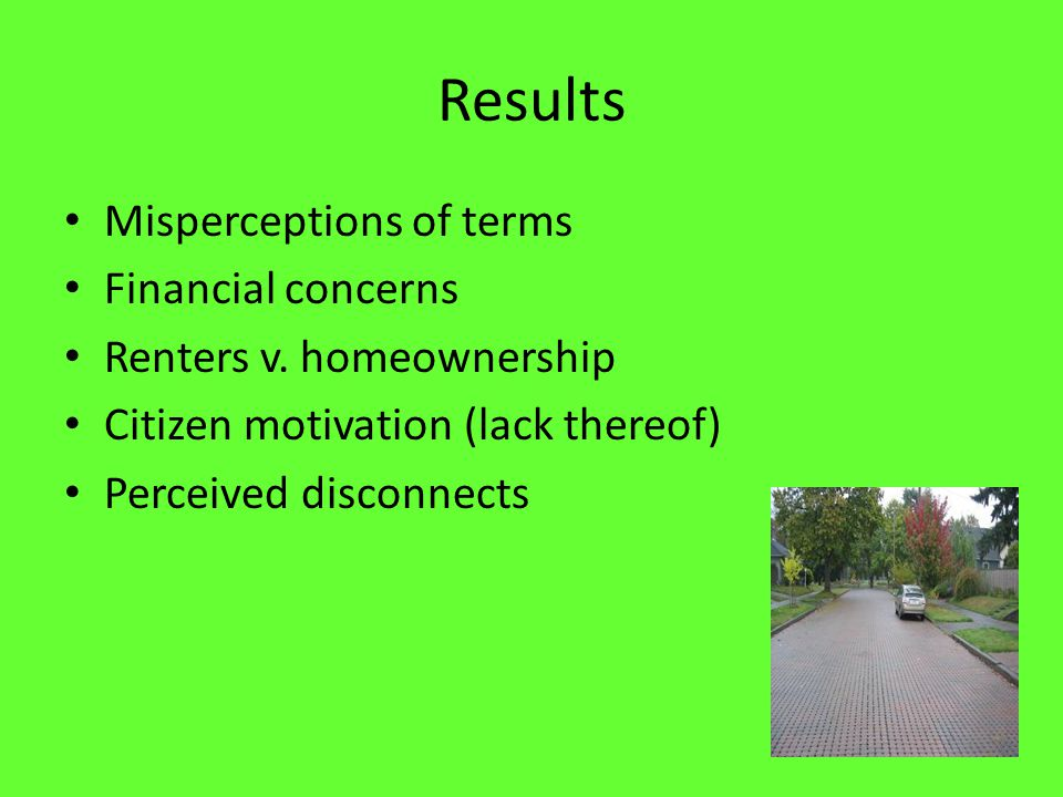 Results Misperceptions of terms Financial concerns Renters v.