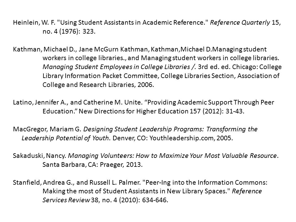 Heinlein, W. F. Using Student Assistants in Academic Reference. Reference Quarterly 15, no.