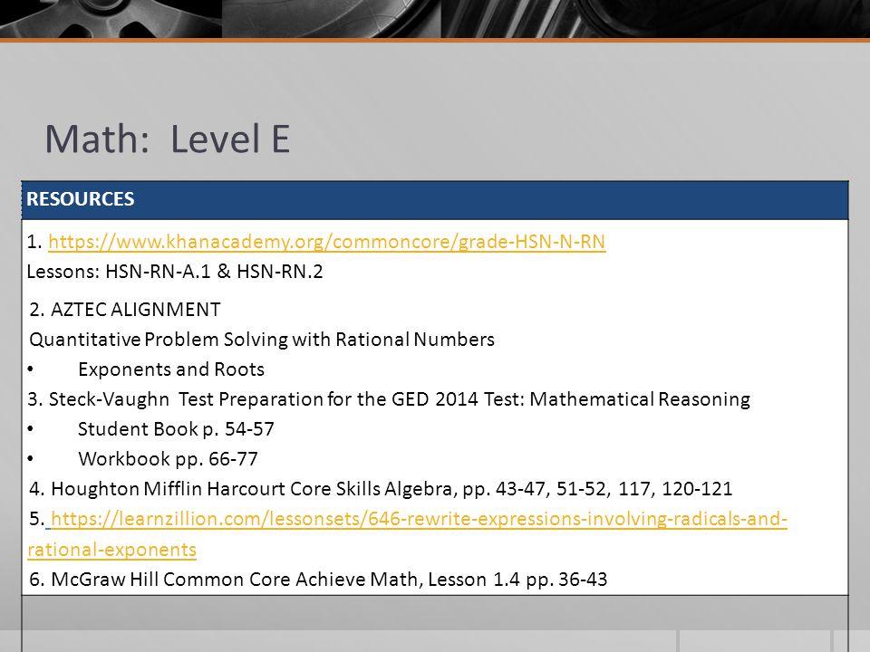 Math: Level E RESOURCES 1.