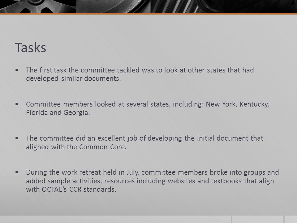 Tasks  The first task the committee tackled was to look at other states that had developed similar documents.  Committee members looked at several s