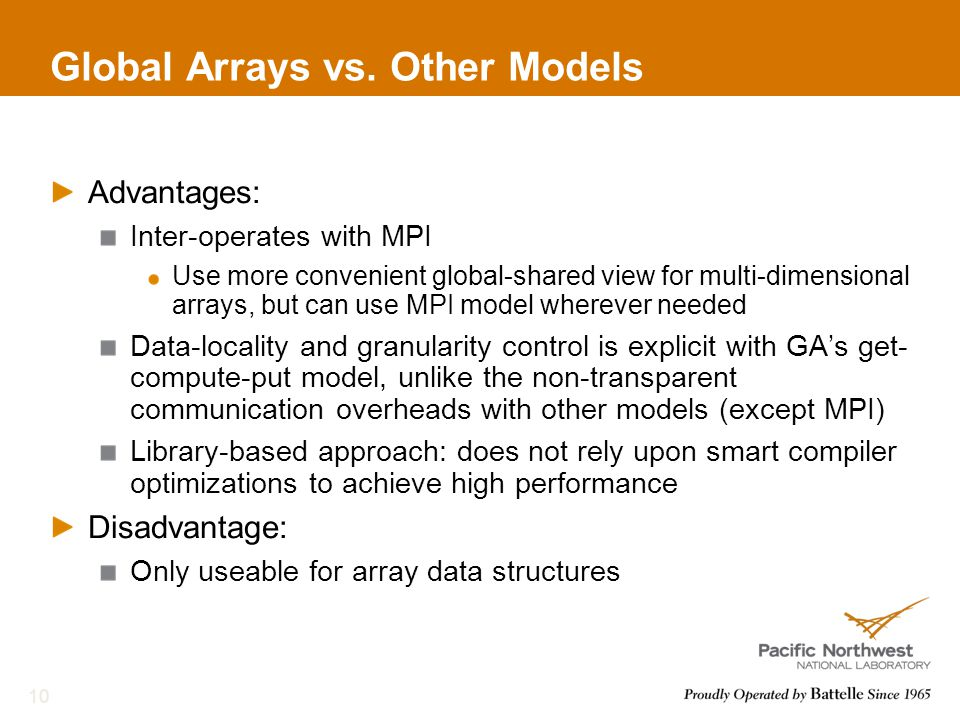 Global Arrays vs.