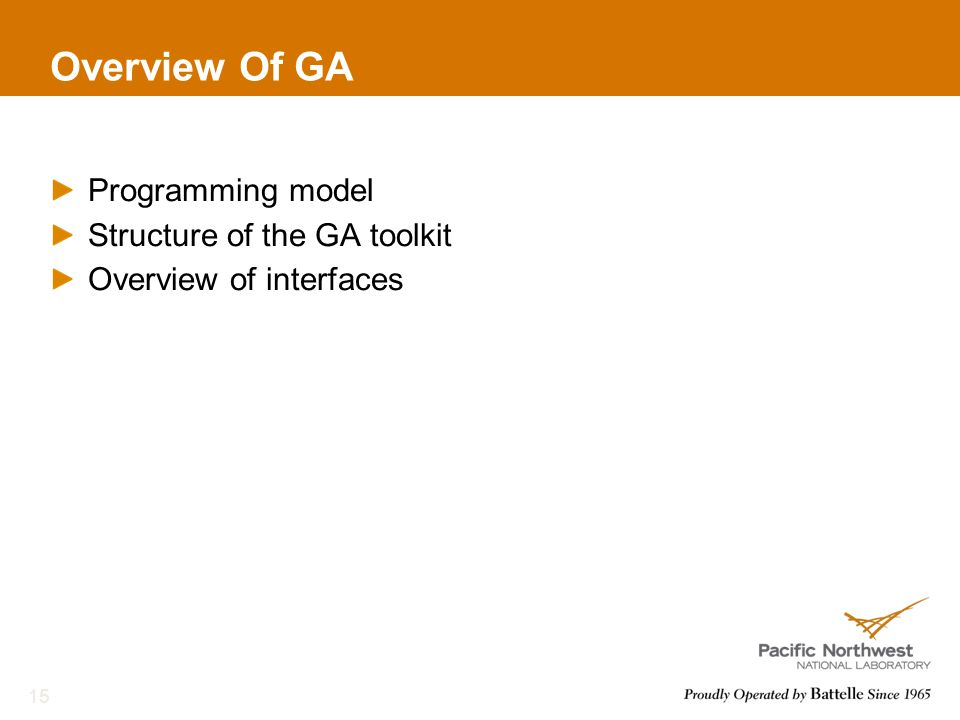 Overview Of GA Programming model Structure of the GA toolkit Overview of interfaces 15