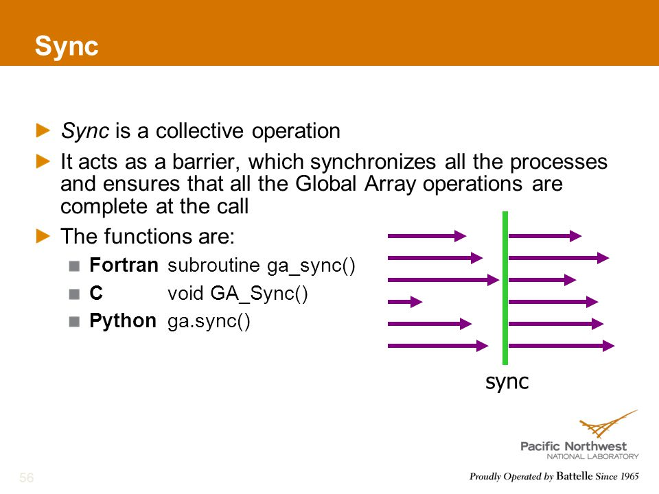 Sync Sync is a collective operation It acts as a barrier, which synchronizes all the processes and ensures that all the Global Array operations are complete at the call The functions are: Fortransubroutine ga_sync() Cvoid GA_Sync() Pythonga.sync() 56 sync