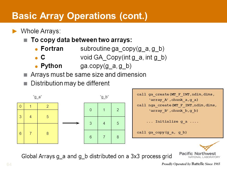 Basic Array Operations (cont.) Whole Arrays: To copy data between two arrays: Fortransubroutine ga_copy(g_a, g_b) Cvoid GA_Copy(int g_a, int g_b) Pythonga.copy(g_a, g_b) Arrays must be same size and dimension Distribution may be different 64 call ga_create(MT_F_INT,ndim,dims, 'array_A',chunk_a,g_a) call nga_create(MT_F_INT,ndim,dims, 'array_B',chunk_b,g_b)...