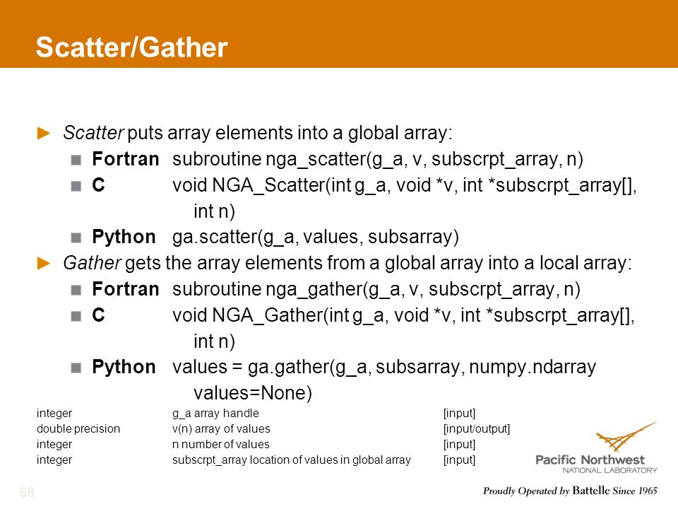 Scatter/Gather Scatter puts array elements into a global array: Fortransubroutine nga_scatter(g_a, v, subscrpt_array, n) Cvoid NGA_Scatter(int g_a, void *v, int *subscrpt_array[], int n) Pythonga.scatter(g_a, values, subsarray) Gather gets the array elements from a global array into a local array: Fortransubroutine nga_gather(g_a, v, subscrpt_array, n) Cvoid NGA_Gather(int g_a, void *v, int *subscrpt_array[], int n) Pythonvalues = ga.gather(g_a, subsarray, numpy.ndarray values=None) integerg_a array handle[input] double precisionv(n) array of values[input/output] integer n number of values[input] integersubscrpt_array location of values in global array[input] 68