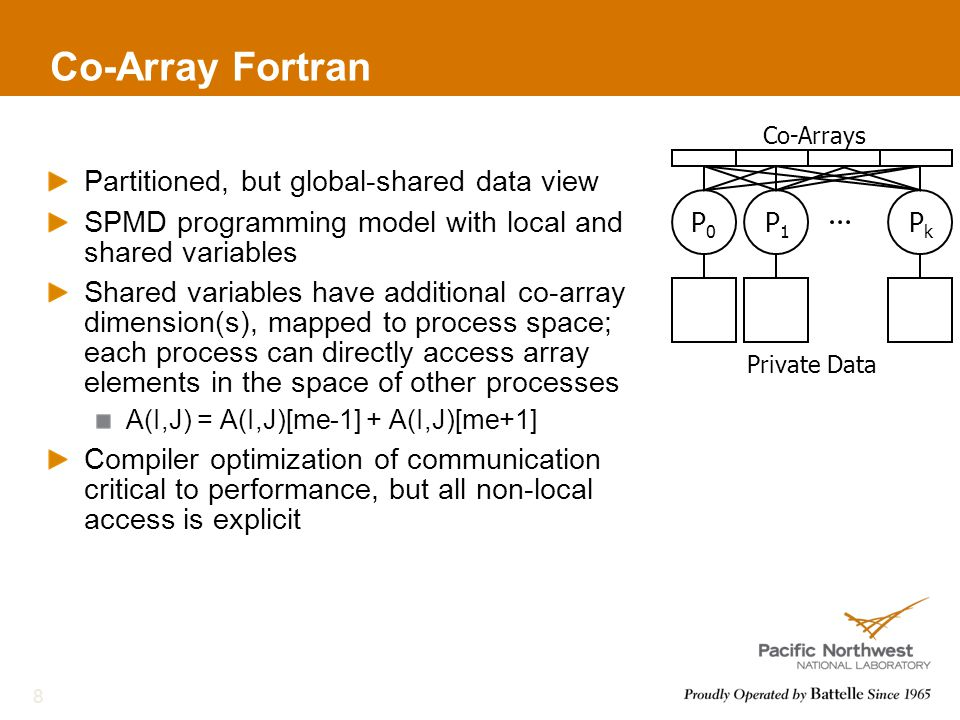 Co-Array Fortran Partitioned, but global-shared data view SPMD programming model with local and shared variables Shared variables have additional co-array dimension(s), mapped to process space; each process can directly access array elements in the space of other processes A(I,J) = A(I,J)[me-1] + A(I,J)[me+1] Compiler optimization of communication critical to performance, but all non-local access is explicit 8 Private Data Co-Arrays P0P0 P1P1 PkPk