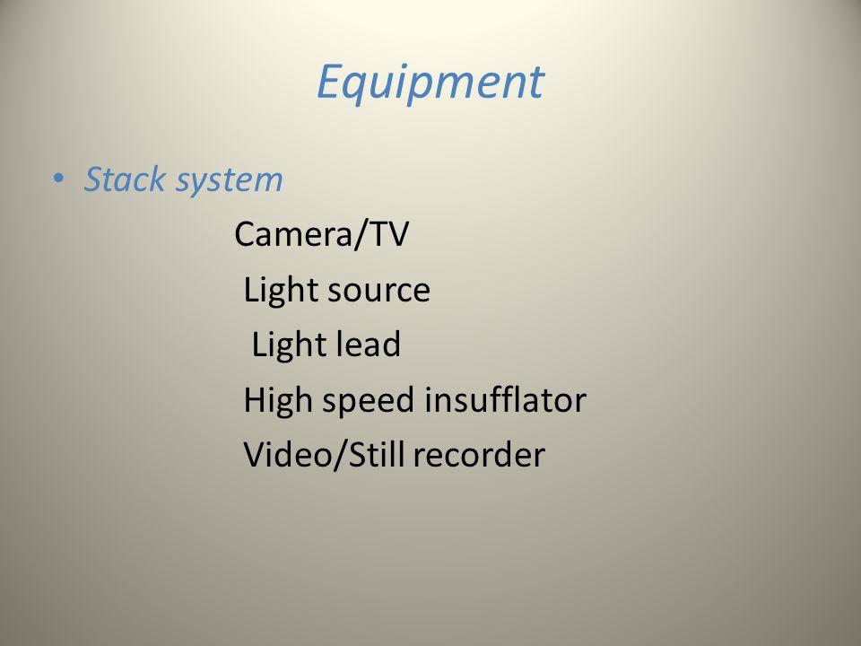 Equipment Stack system Camera/TV Light source Light lead High speed insufflator Video/Still recorder