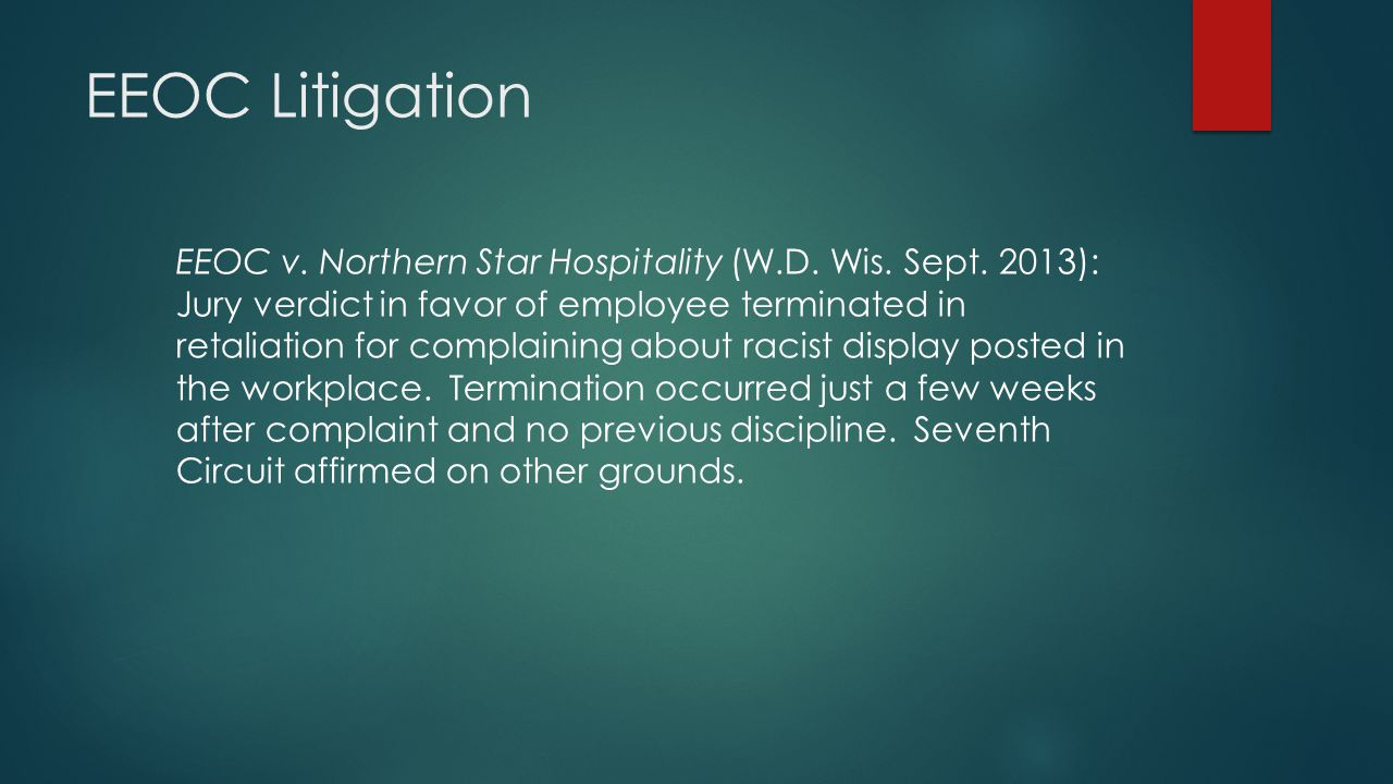 EEOC Litigation EEOC v.Northern Star Hospitality (W.D.