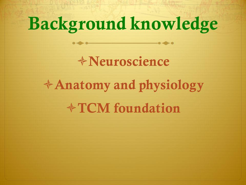 Background knowledge  Neuroscience  Anatomy and physiology  TCM foundation