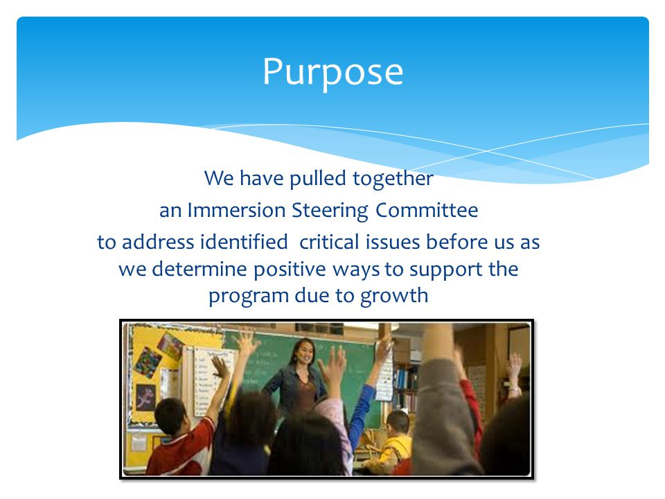 We have pulled together an Immersion Steering Committee to address identified critical issues before us as we determine positive ways to support the p