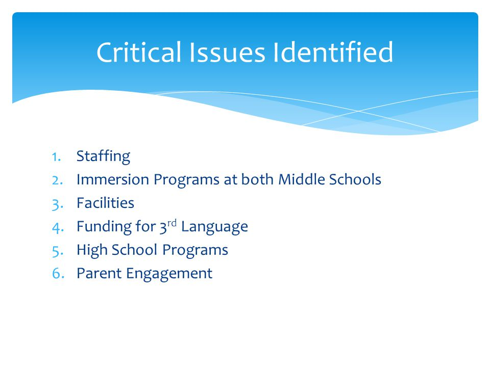 1.Staffing 2.Immersion Programs at both Middle Schools 3.Facilities 4.Funding for 3 rd Language 5.High School Programs 6.Parent Engagement Critical Issues Identified