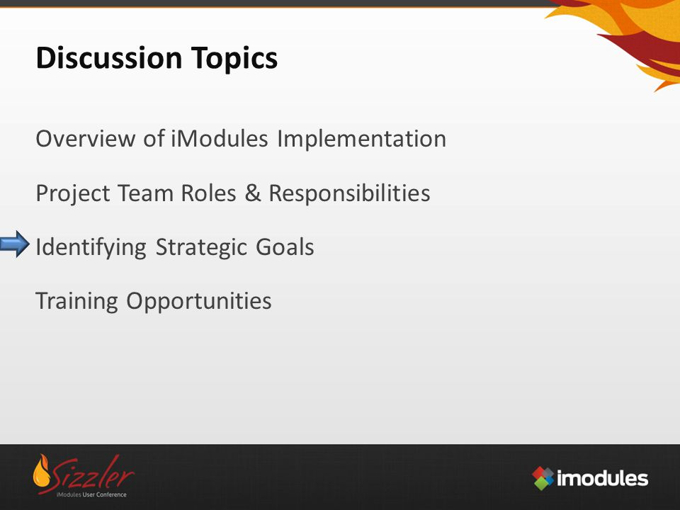 Discussion Topics Overview of iModules Implementation Project Team Roles & Responsibilities Identifying Strategic Goals Training Opportunities