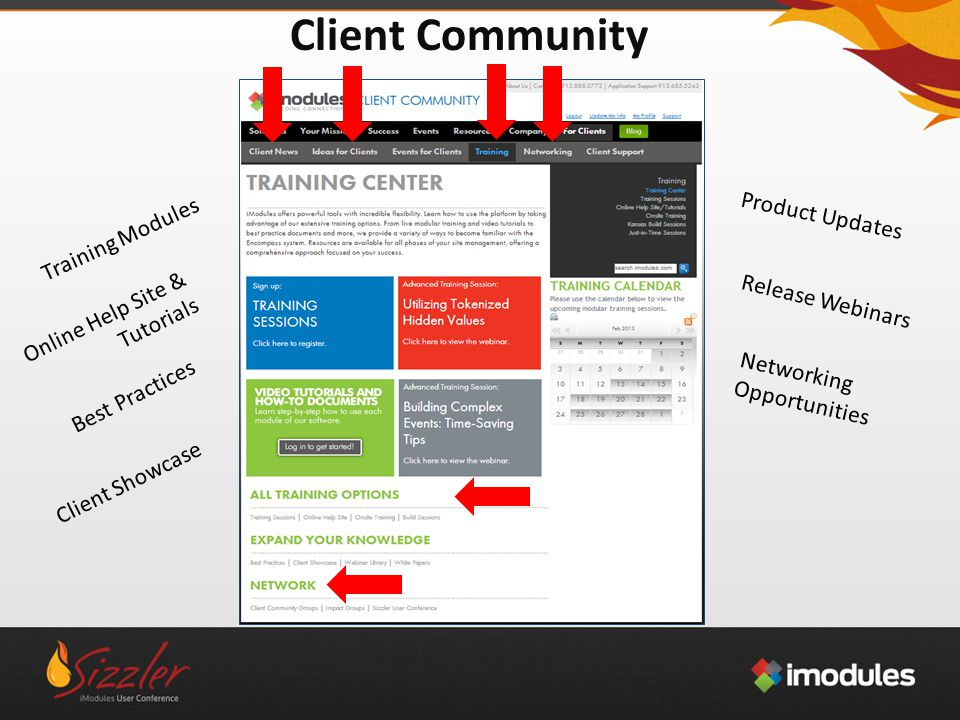 Client Community Training Modules Online Help Site & Tutorials Best Practices Client Showcase Networking Opportunities Release Webinars Product Updates