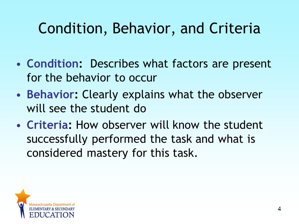 Condition, Behavior, and Criteria Condition: Describes what factors are present for the behavior to occur Behavior: Clearly explains what the observer will see the student do Criteria: How observer will know the student successfully performed the task and what is considered mastery for this task.