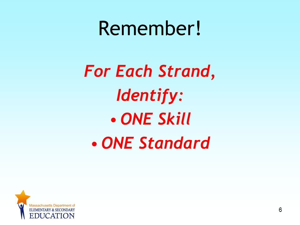 Remember! For Each Strand, Identify: ONE Skill ONE Standard 6