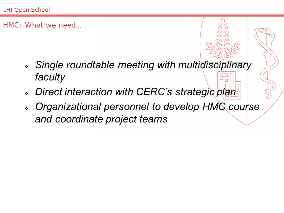 IHI Open School HMC: What we need…  Single roundtable meeting with multidisciplinary faculty  Direct interaction with CERC's strategic plan  Organizational personnel to develop HMC course and coordinate project teams