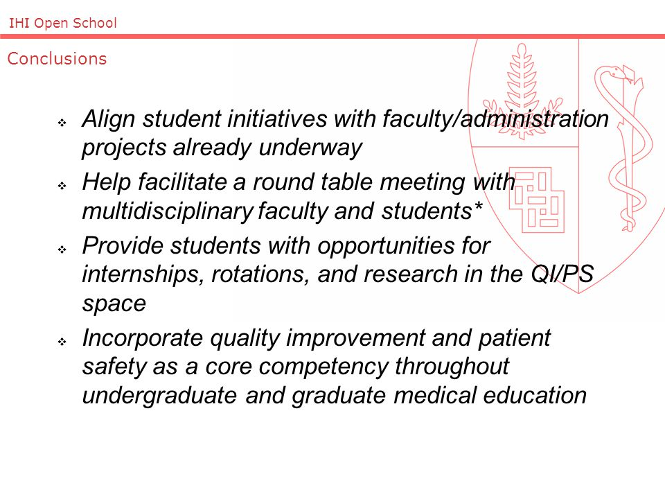 IHI Open School  Align student initiatives with faculty/administration projects already underway  Help facilitate a round table meeting with multidisciplinary faculty and students*  Provide students with opportunities for internships, rotations, and research in the QI/PS space  Incorporate quality improvement and patient safety as a core competency throughout undergraduate and graduate medical education Conclusions