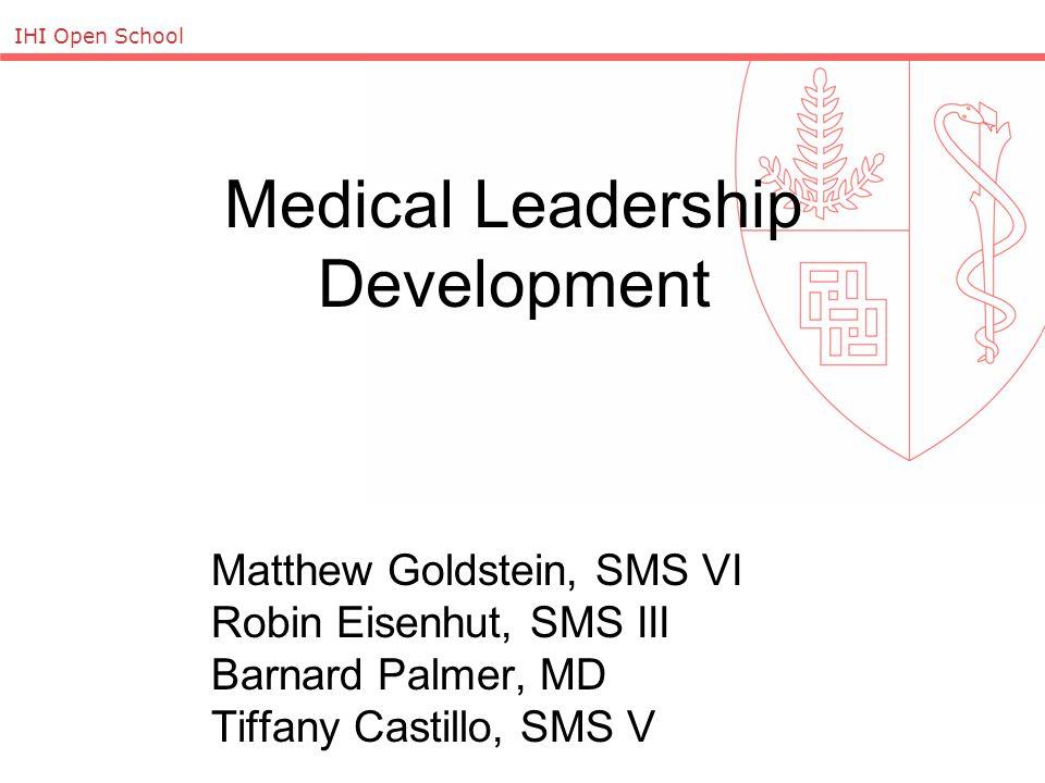 IHI Open School Medical Leadership Development Matthew Goldstein, SMS VI Robin Eisenhut, SMS III Barnard Palmer, MD Tiffany Castillo, SMS V