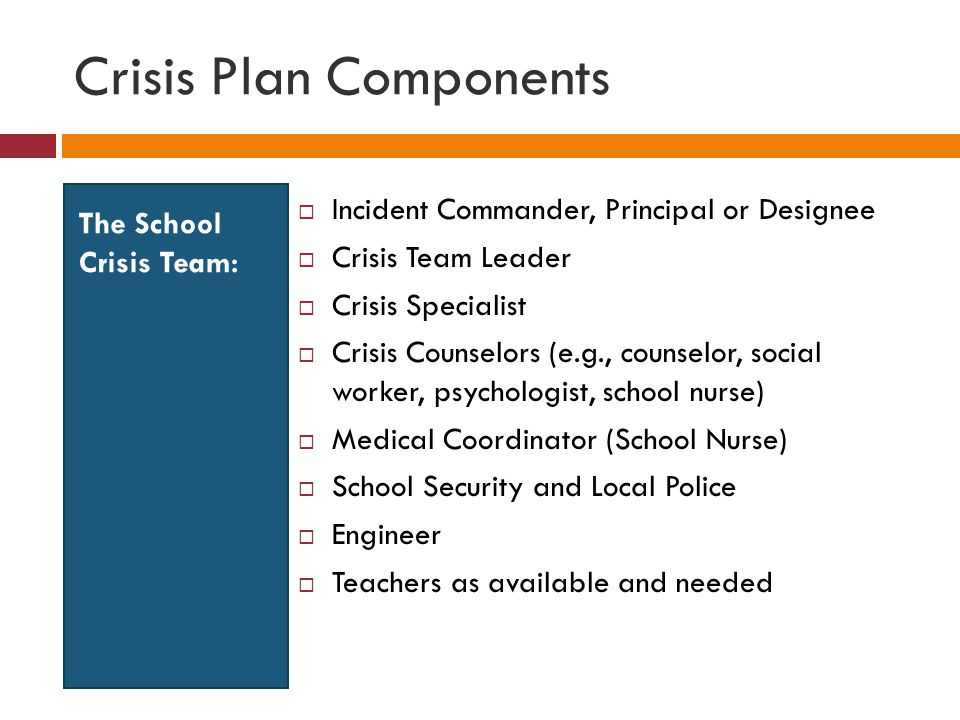 Crisis Plan Components The School Crisis Team:  Incident Commander, Principal or Designee  Crisis Team Leader  Crisis Specialist  Crisis Counselors (e.g., counselor, social worker, psychologist, school nurse)  Medical Coordinator (School Nurse)  School Security and Local Police  Engineer  Teachers as available and needed