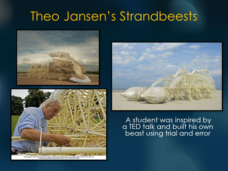 A student was inspired by a TED talk and built his own beast using trial and error Theo Jansen's Strandbeests