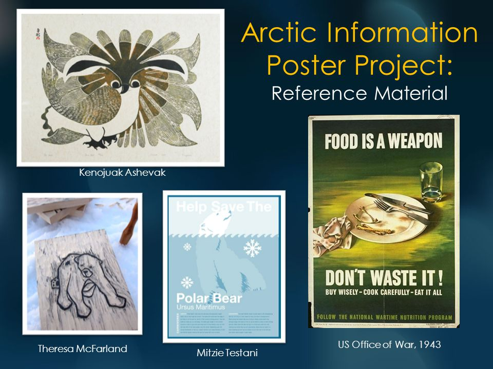 Arctic Information Poster Project: Reference Material Kenojuak Ashevak Theresa McFarland Mitzie Testani US Office of War, 1943