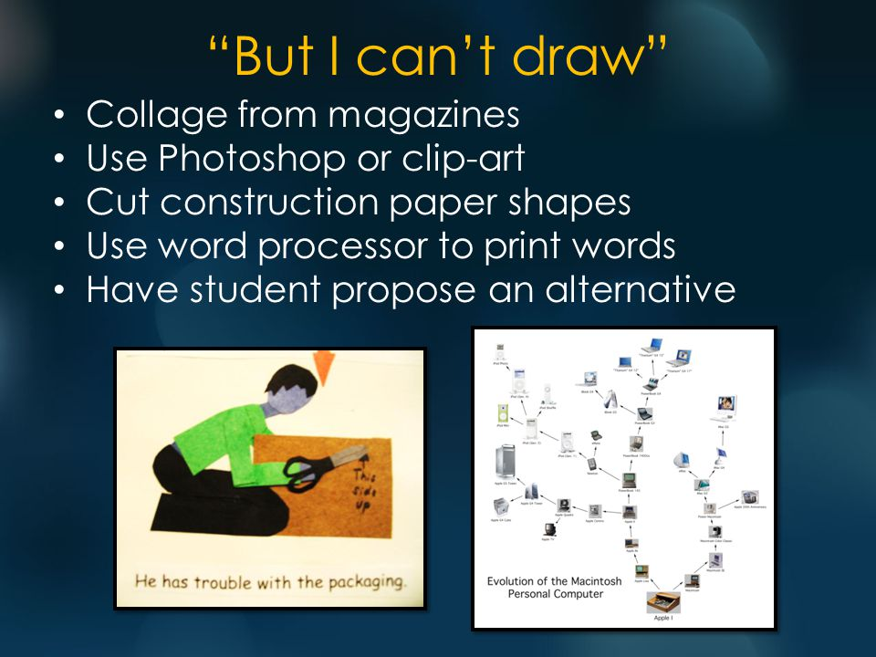 But I can't draw Collage from magazines Use Photoshop or clip-art Cut construction paper shapes Use word processor to print words Have student propose an alternative
