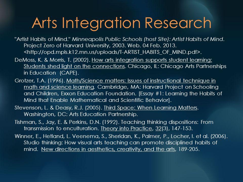Arts Integration Research Artist Habits of Mind. Minneapolis Public Schools (host Site): Artist Habits of Mind.