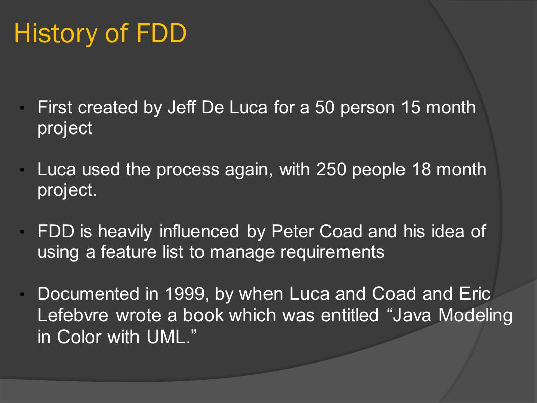 FDD Quality Inspections Design Code Benefits Knowledge transfer Standards Conformance Unit Tests