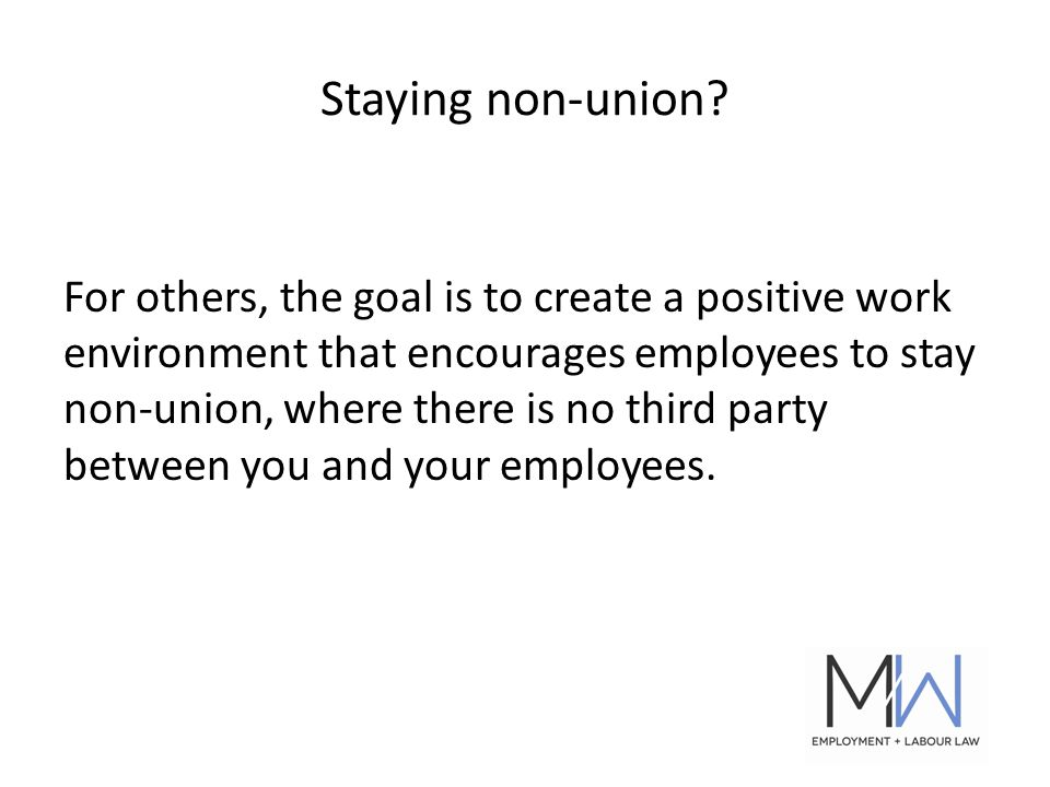 Staying non-union.