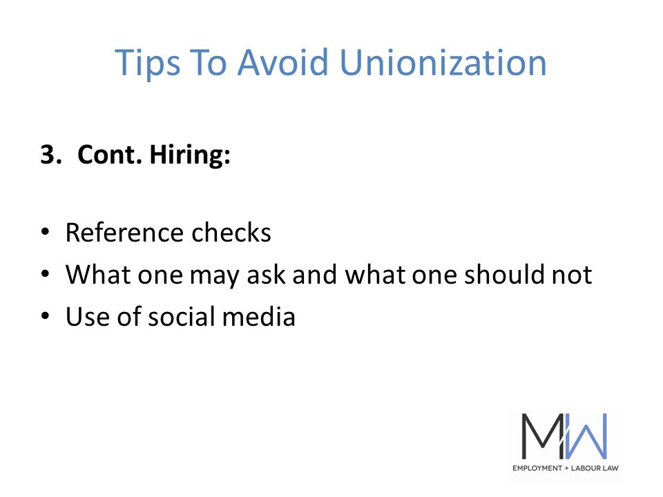 Tips To Avoid Unionization 3.Cont.