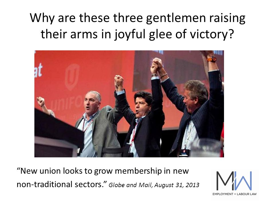 Why are these three gentlemen raising their arms in joyful glee of victory.