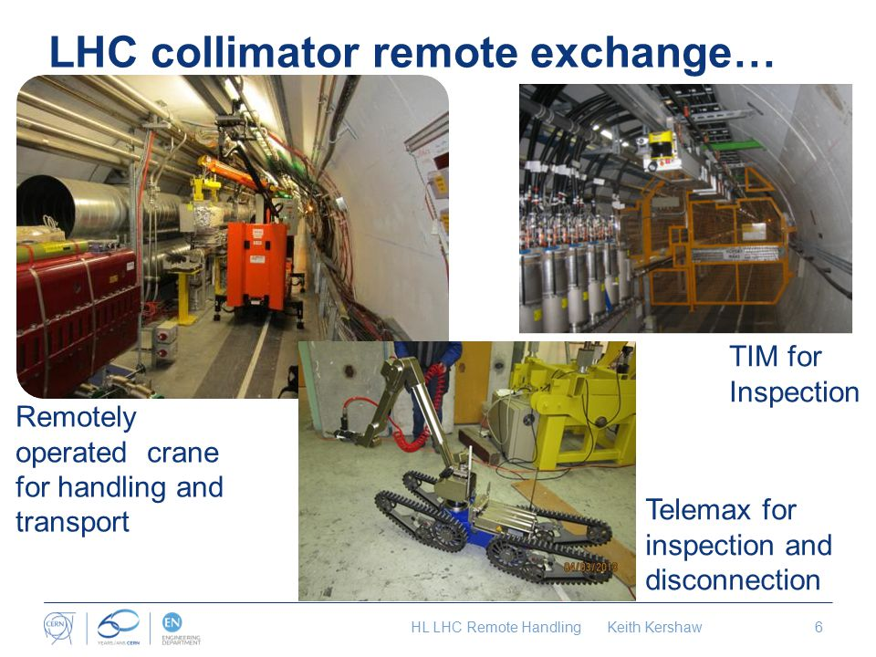 LHC collimator remote exchange… Remotely operated crane for handling and transport Telemax for inspection and disconnection TIM for Inspection HL LHC Remote Handling Keith Kershaw6