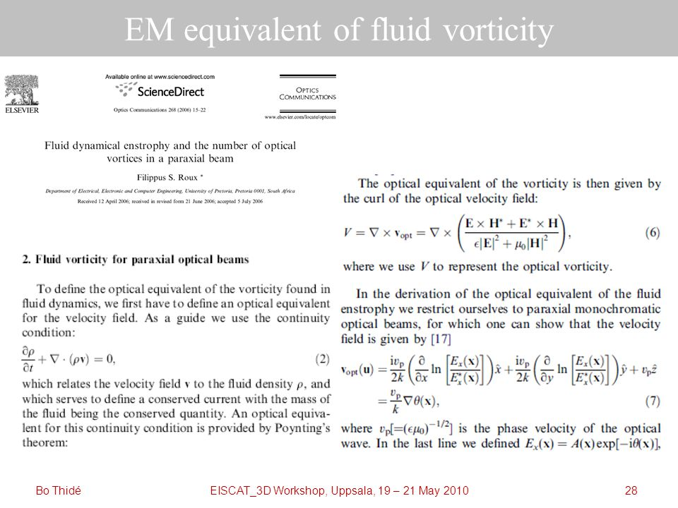EISCAT_3D Workshop, Uppsala, 19 – 21 May 2010Bo Thidé28 EM equivalent of fluid vorticity